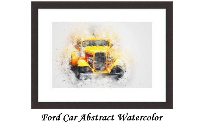 Ford Car Abstract Watercolor