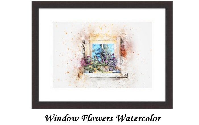 Window Flowers Watercolor