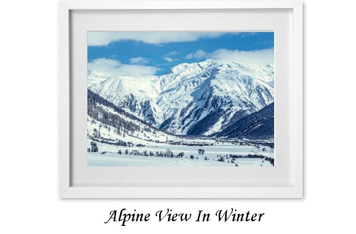 Alpine View In Winter Framed Print