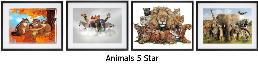 Animals 5 Star Framed Prints