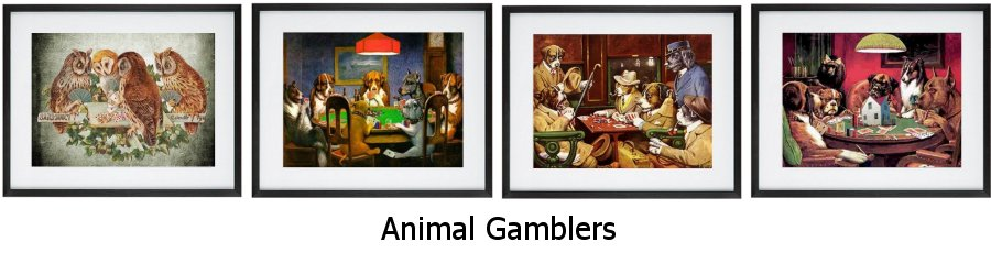 Animal Gamblers Framed Prints