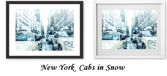 New York Cabs In Snow