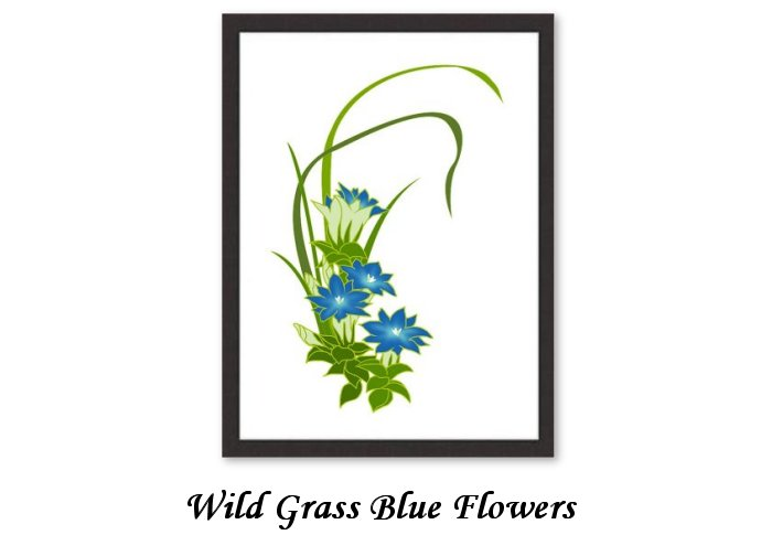 Wild Grass Blue Flowers