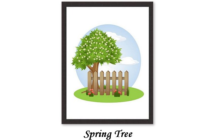 Background Spring Winter Summer Autumn Tree Fence