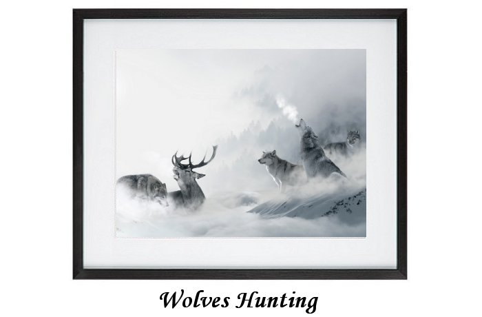 Framed Hunting Wolves